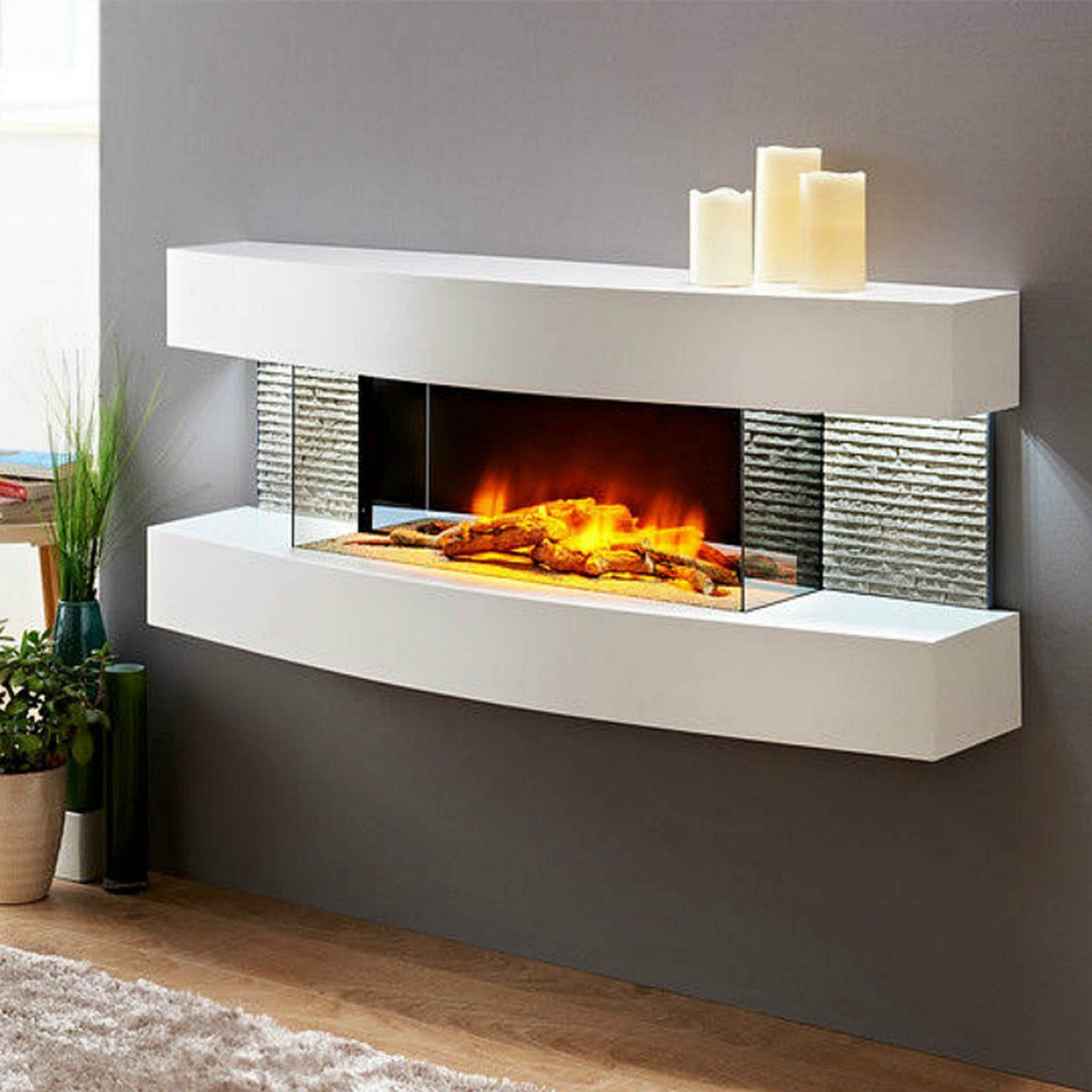 Miami Curve Electric Fireplace In