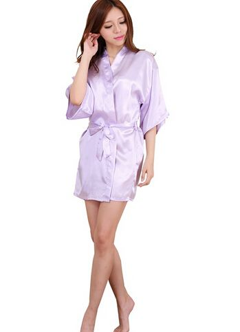 Frauen Silk Satin Short Night Robe Solide Kimono Robe Mode ...