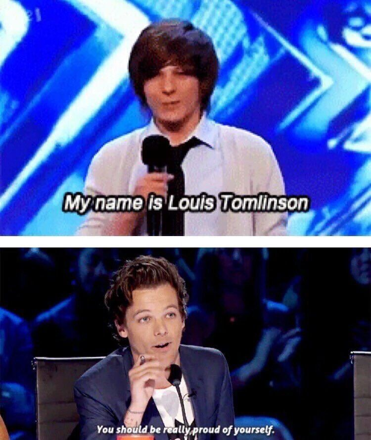 Louis Tomlinson as a contestant on The X Factor and as a judge on Americas Git Talent