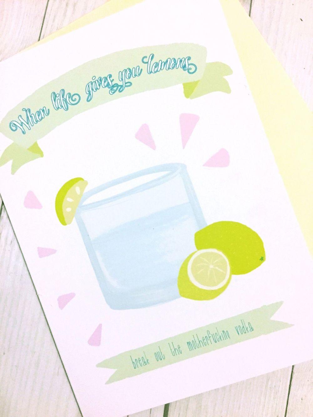 Lemons Life Card Get Well Card Funny Greeting Card Vodka