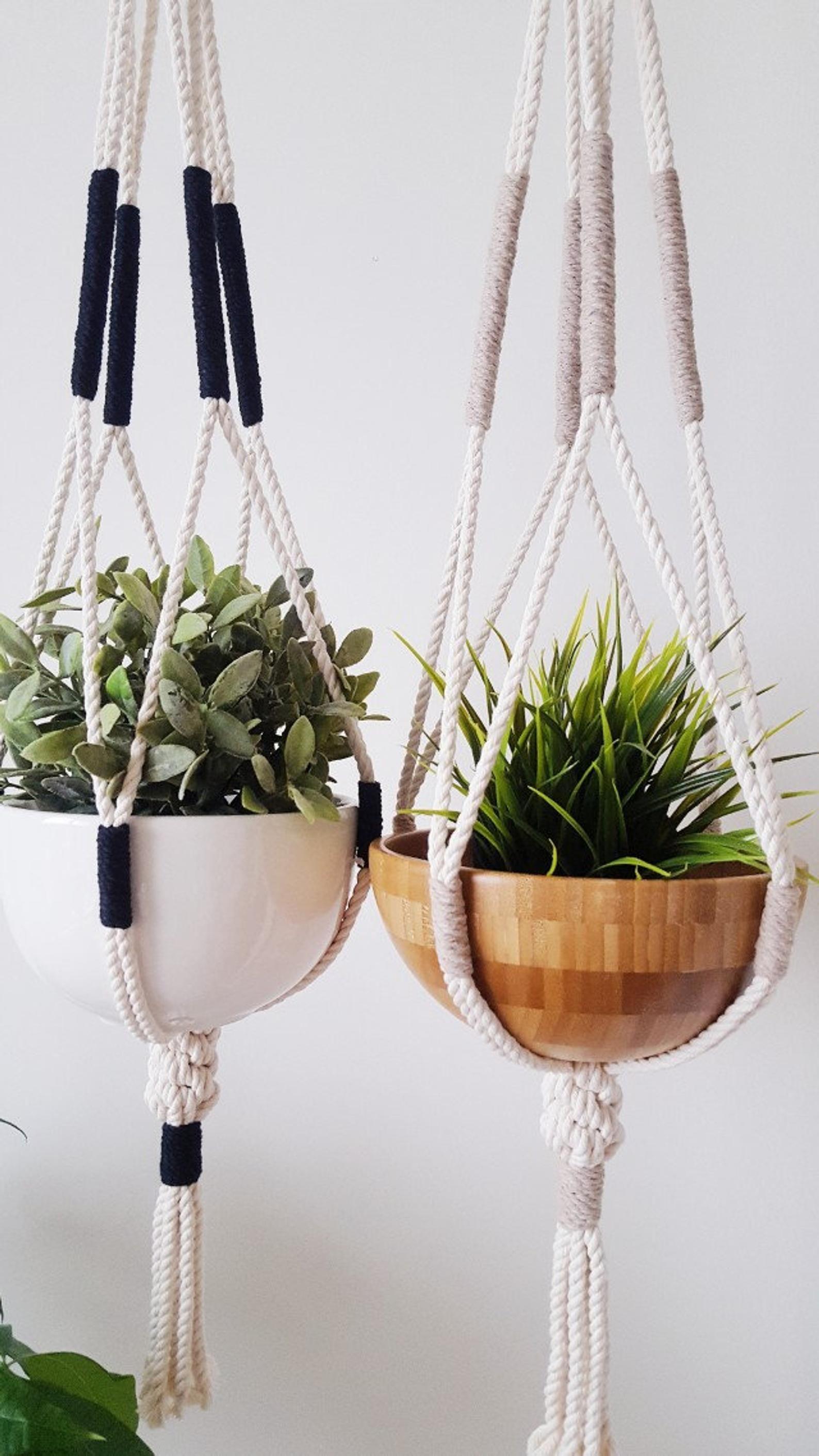 Macrame Plant Hanger, Hanging Planter, Color Block, Macrame Plant ...