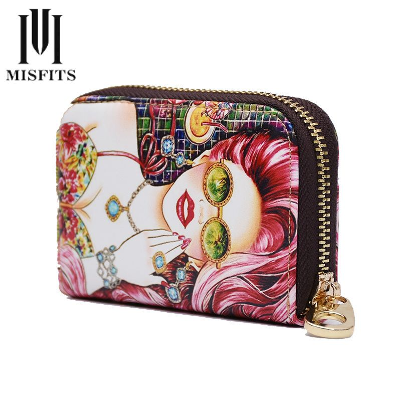 Genuine Leather Card Holder Wallets Zipper Girl Print Credit ...