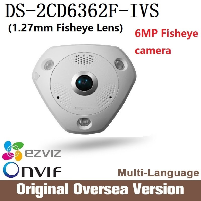 444.00$  Buy here - http://ali0fv.worldwells.pw/go.php?t=32785228739 - HIK DS-2CD6362F-IVS 360 Degree panoramic view 1.27mm Fisheye Lens Cctv security Poe Ip66 intrusion detection English  444.00$