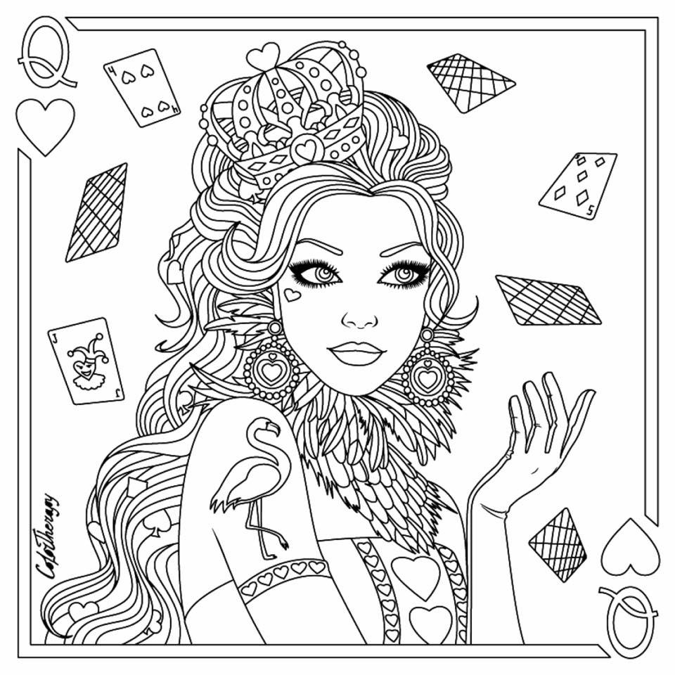 Queen Of Hearts Coloring Page Heart Coloring Pages Coloring Pages Coloring Books