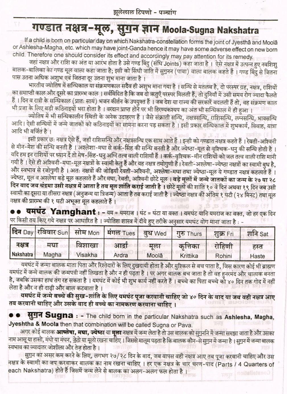 Moola Sugna Nakshatra Yamghant Sugna नक षत र म ल स गन ज ञ न Astrology Hindi Vedic Astrology Astrology In Hindi