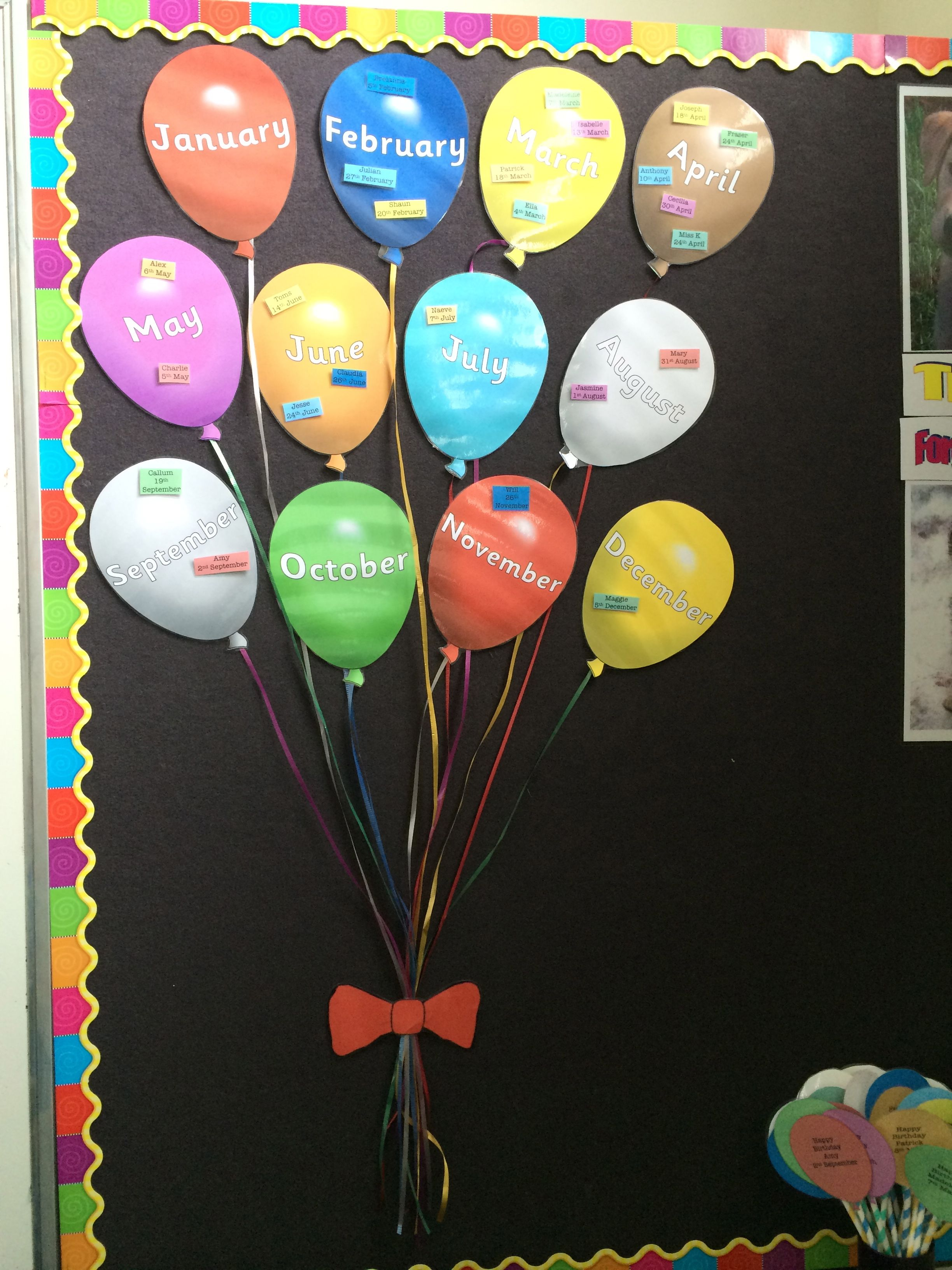 Birthday wall display balloons pinteres for Balloon decoration on wall for birthday