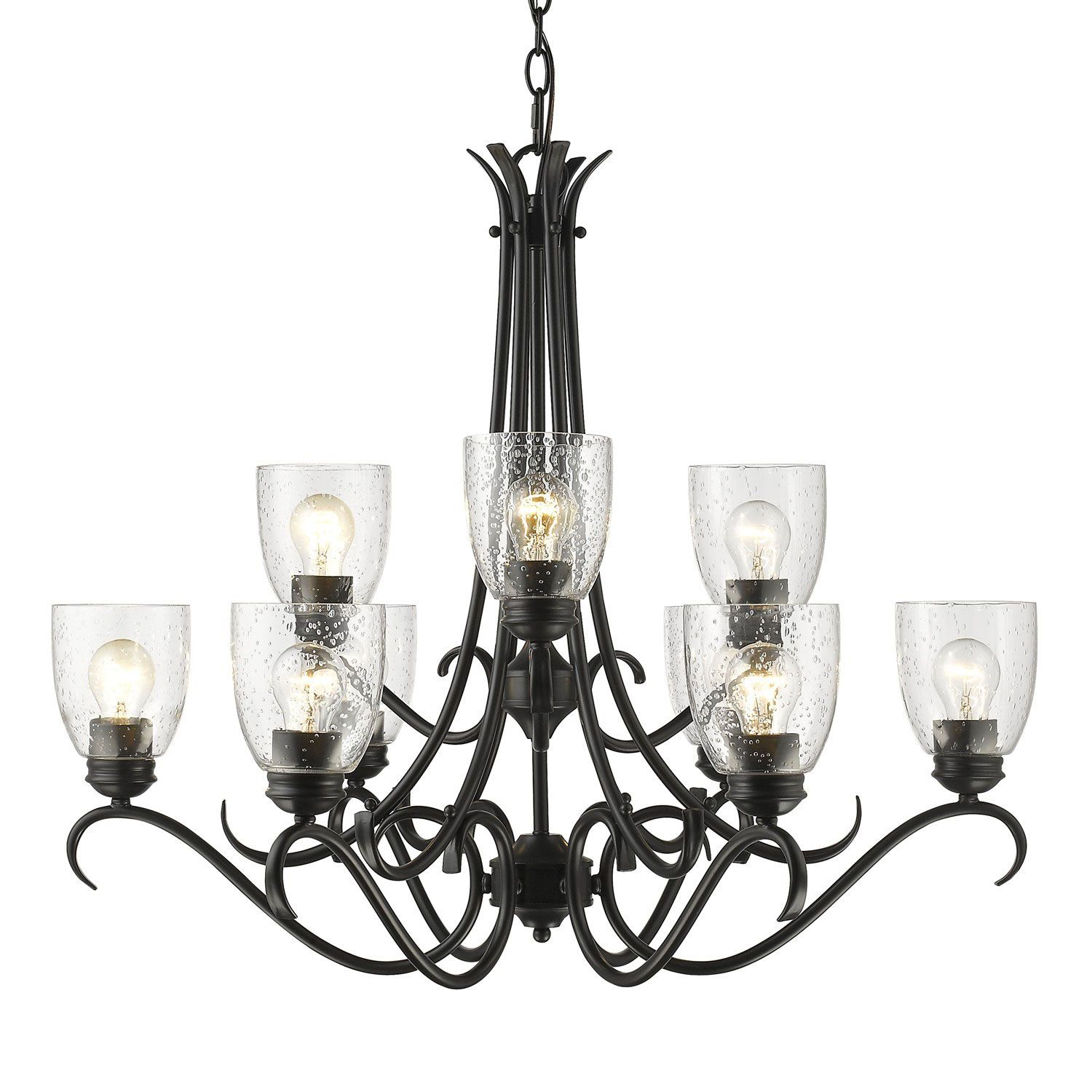 Golden Lighting Parrish Black Nine Light Chandelier with Seeded