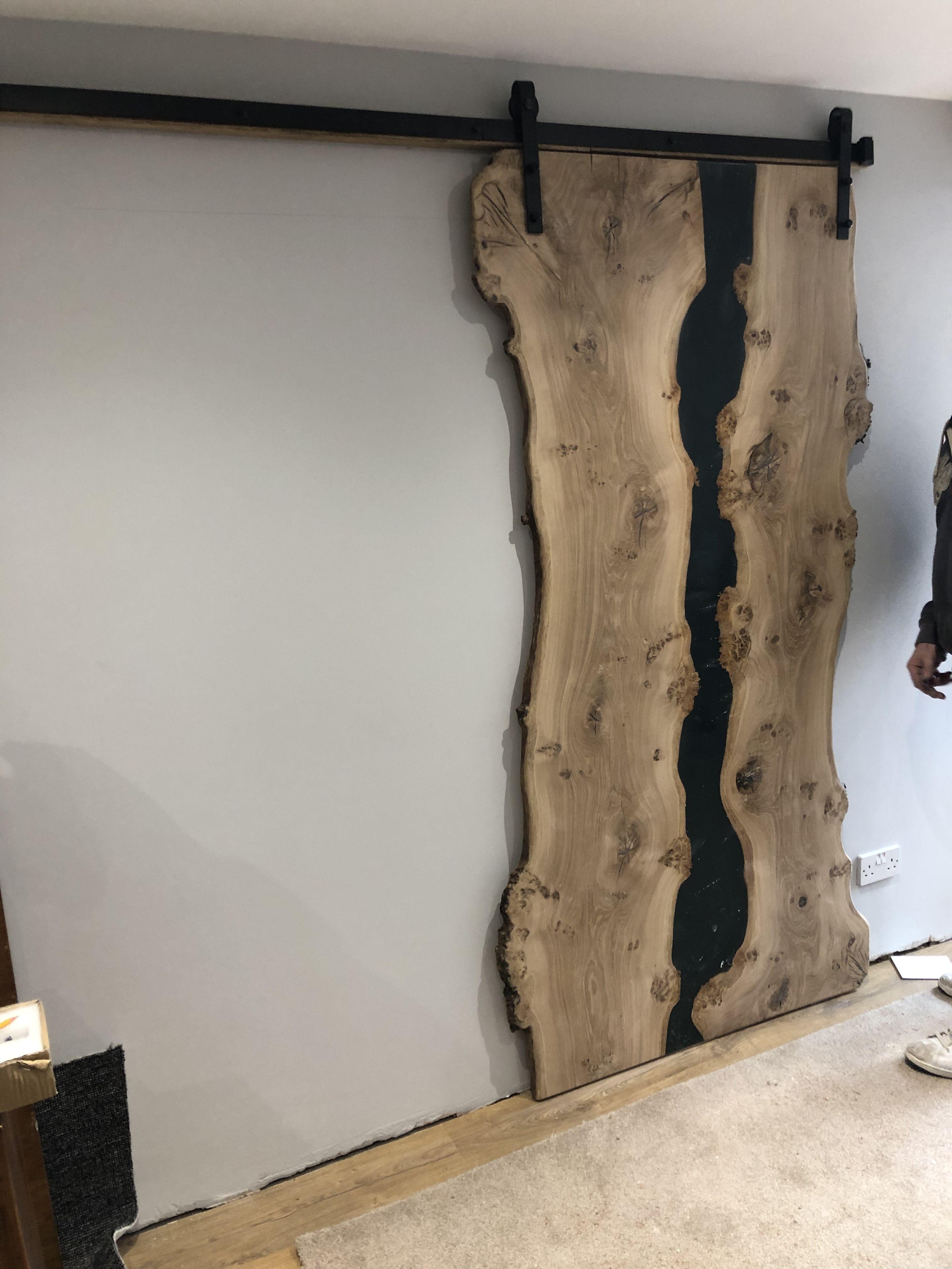 Resin And Burr Oak Bedroom Door Installed Doors Rustic Home Design Door Installation