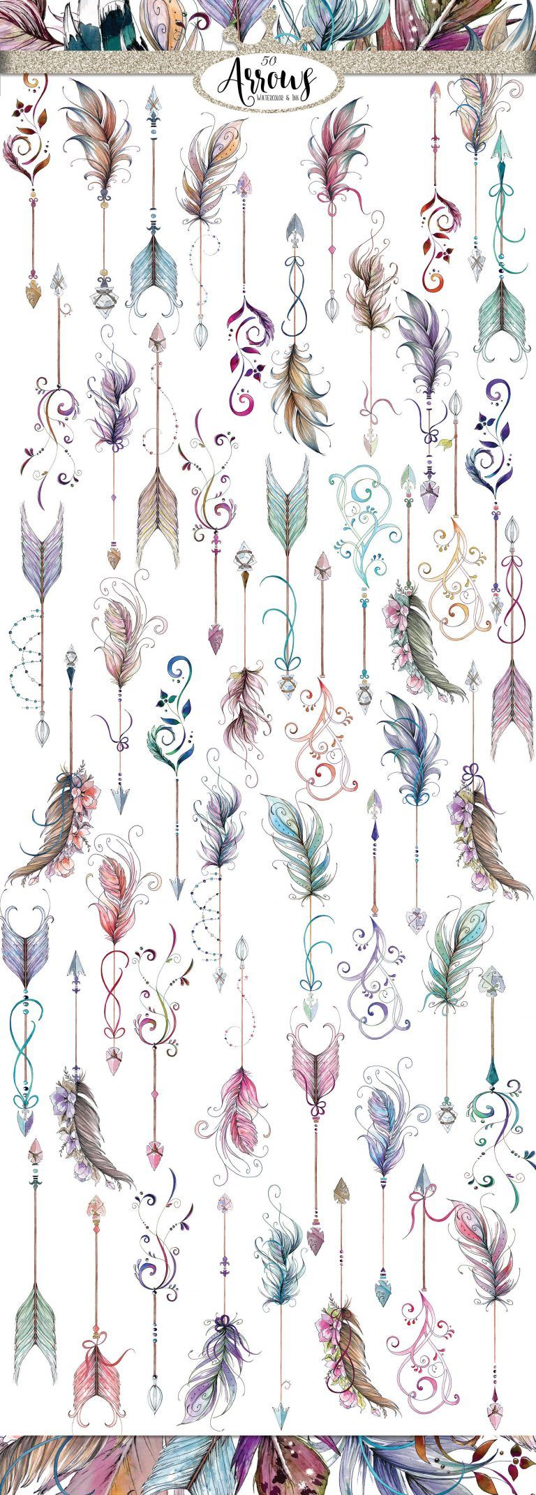 These beautiful boho feather arrows and more are a free gift when you sign up for email and they are just beautiful