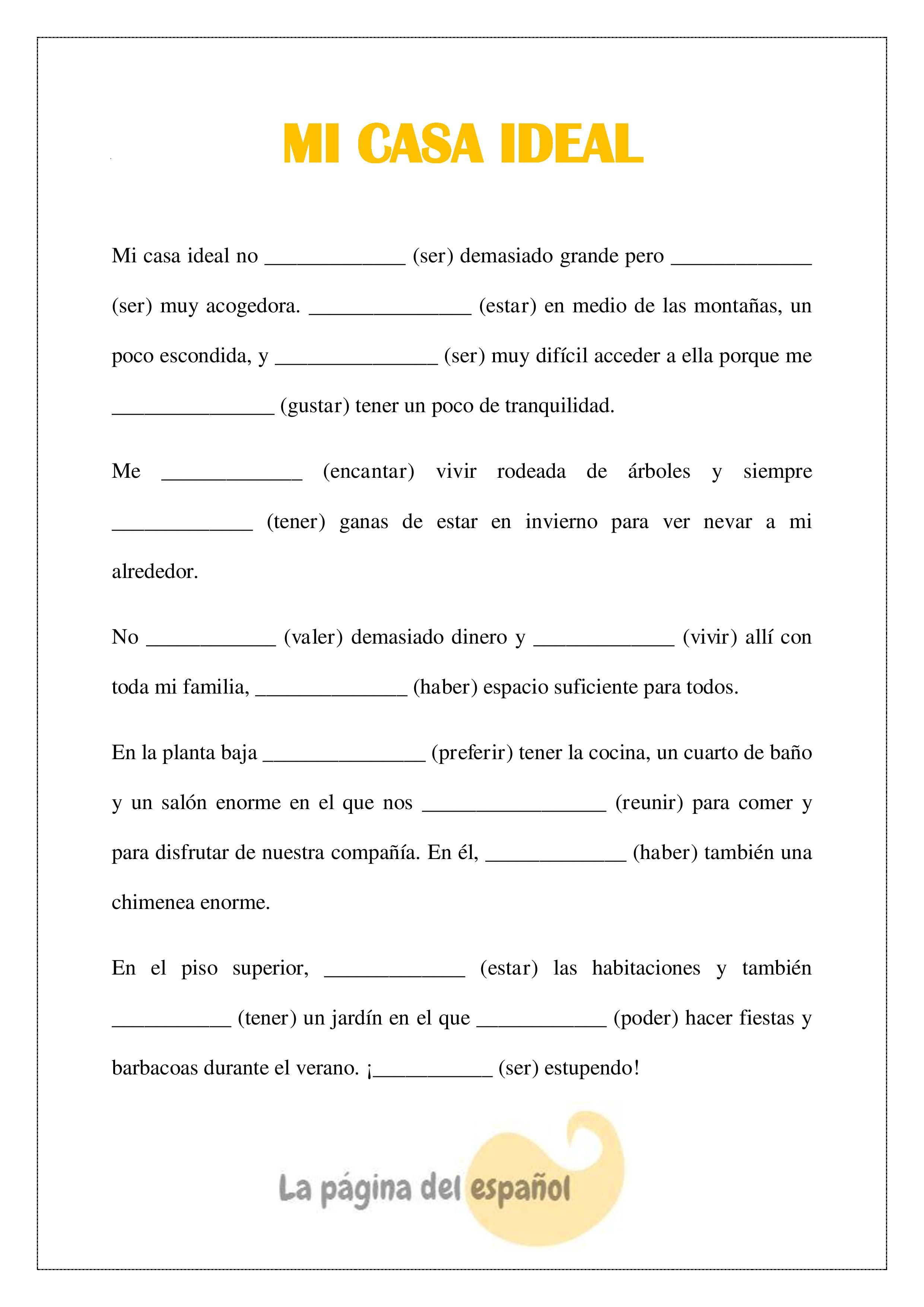 worksheet Subjunctive Spanish Worksheet an activity to practice conditional tense italian pinterest mi casa ideal puedes poner los verbos en condicional modify for spanish 1