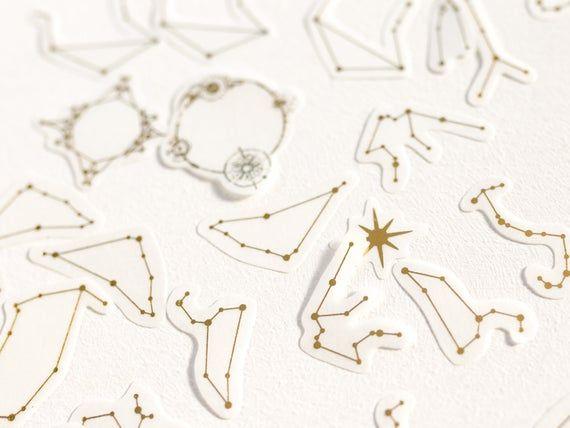 Photo of Washi flake stickers/ gold foil constellation stickers / zodiac sign sticker