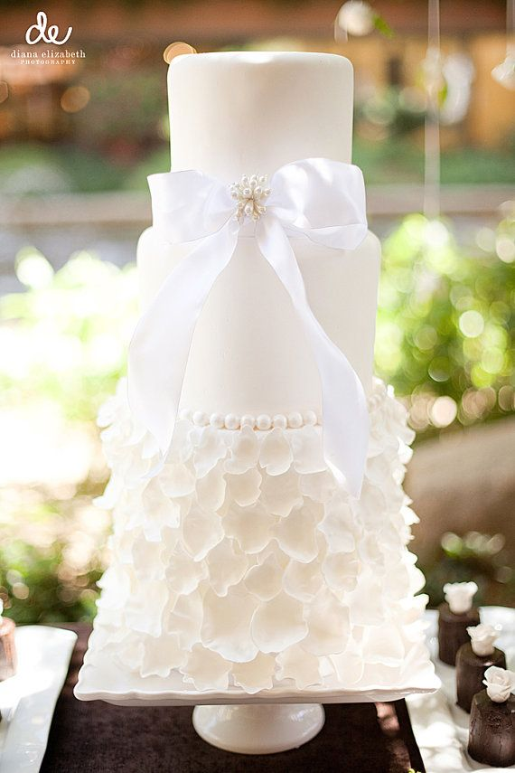 Flower Petal Dress Cake Inspired By Wedding Bottom Tier In Petals With Bow And Pearls