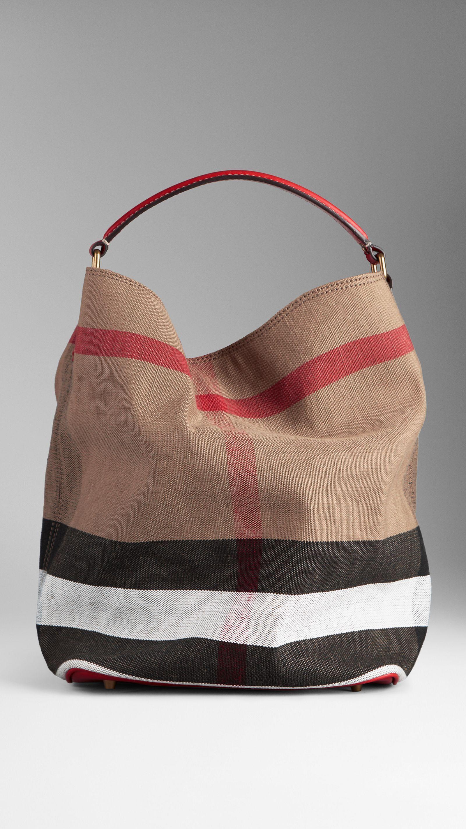 Medium Canvas Check Hobo Bag   Burberry   Bags   clutch 1d8a7f3cda