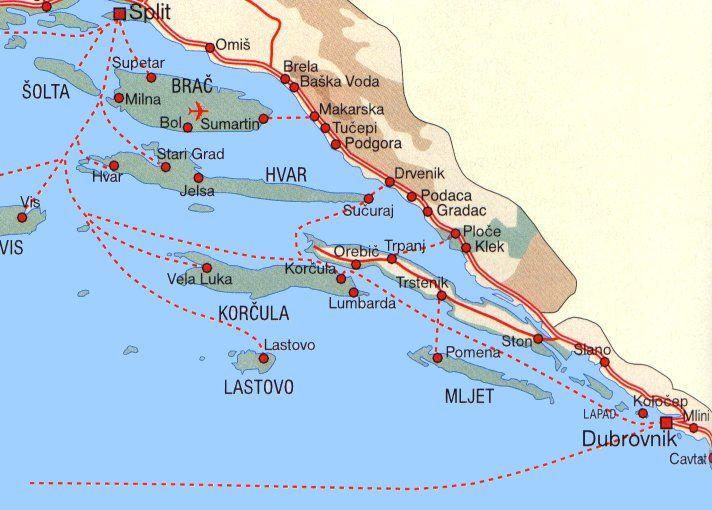 Adriatic Islands north Dubrovknik   Croatia. | Maps etc