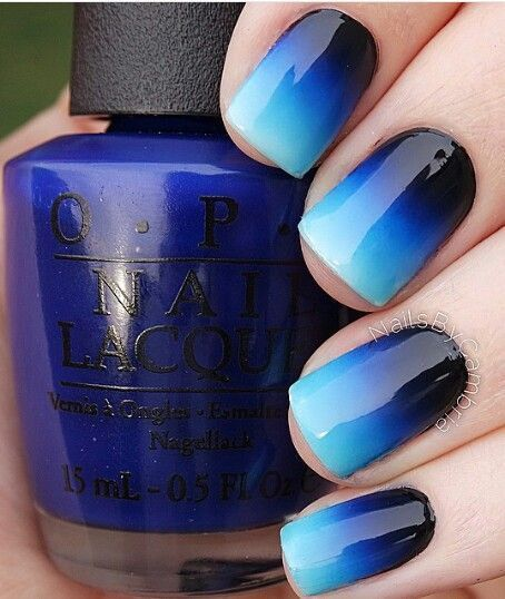Ombre Blue Nails - Ombre Blue Nails Bright Summer Nails, Black Ombre And Summer