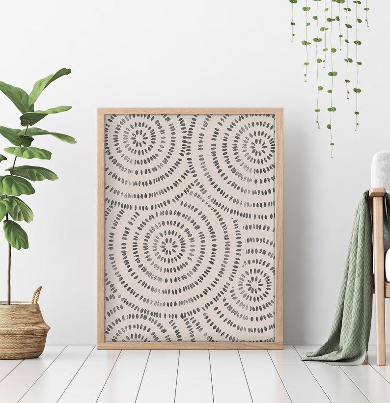 Living Room Wall Art, Black Geometric Line Art, Mi