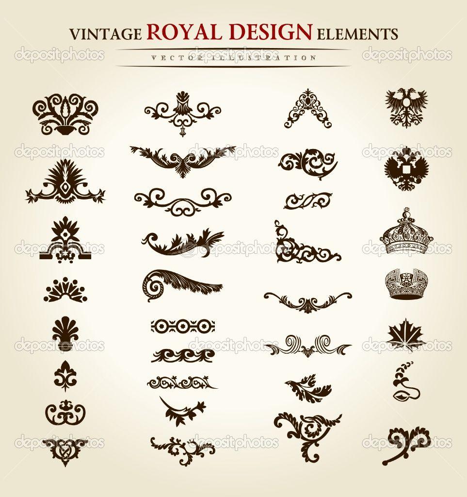 Antique Tattoo Designs Flower Vintage Royal Design Element Stock