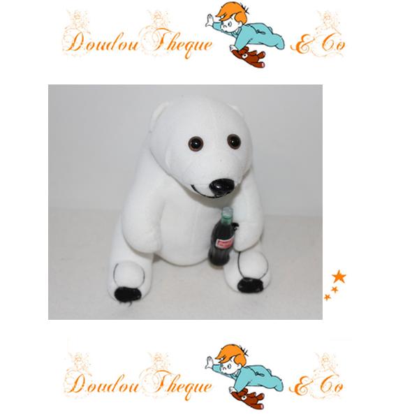 Peluche Ours COCA-COLA peluche publicitaire ours blanc 20 cm