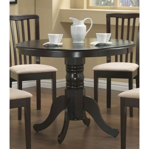 Coaster Pedestal Round Dining Table Cappuccino Finish Coa s