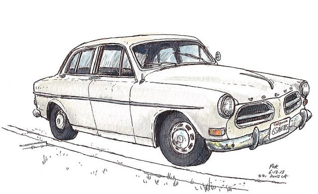 Volvo Amazon 122S and Script Badge ART POSTER A3 size