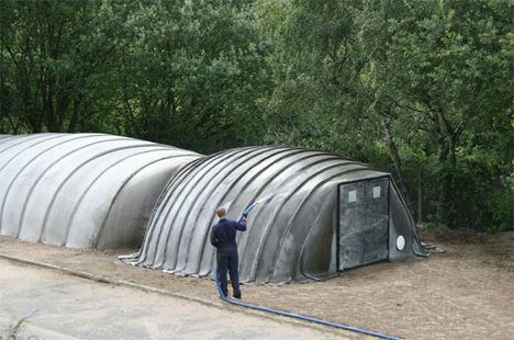 Just Add Water Concrete Buildings Built With Air H2o Survival Shelter Concrete Building Concrete Cloth