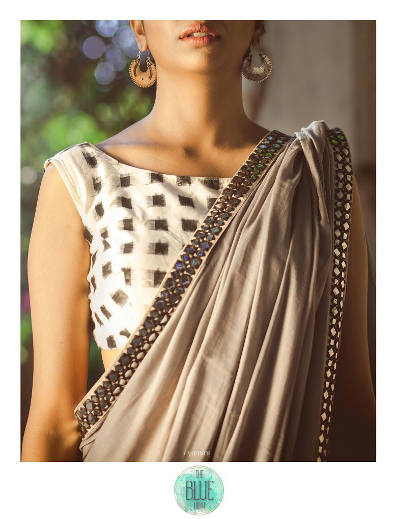 Grey and yellow cotton saree with an ivory and black ikkat blouse