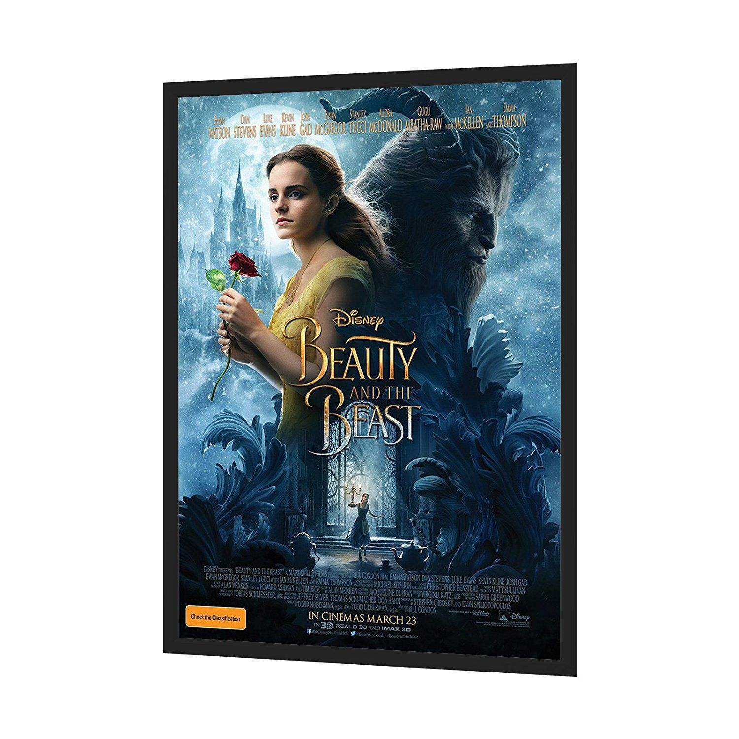 Black Movie Poster Frame 24x36 Inches, 1.25\' Aluminum Profile, Front ...