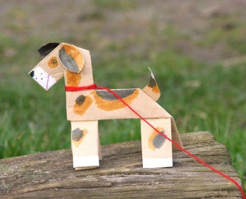 Kostenlose Bastelvorlage Hund aus Papier zum Basteln