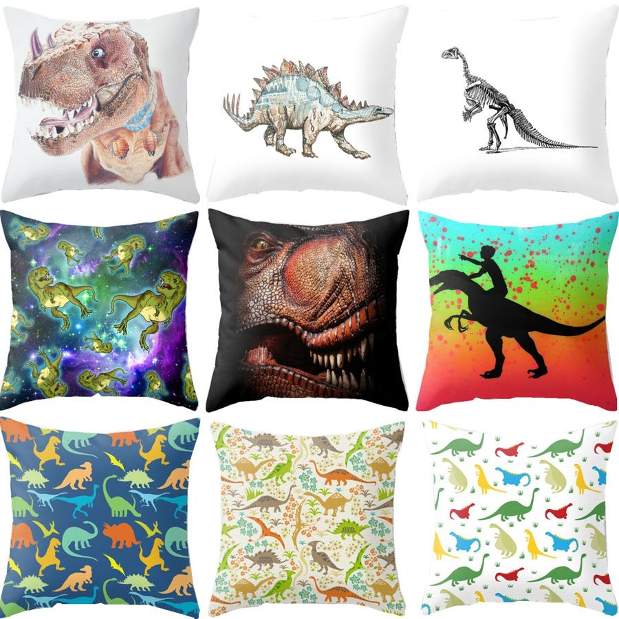 Animal coloeful fiercely dinosaurs cushion covers home office sofa