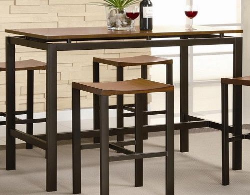 Modern Contemporary Dining Room Table Bar Table And Stools Set Veneer Top Matte Black Metal Furniture Inspiration Top Search - Luxury black pub table Style