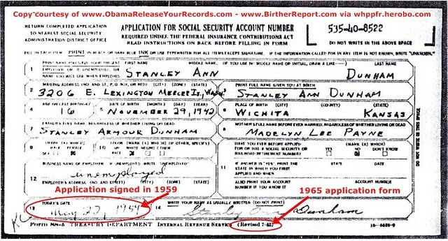 IT RUNS IN THE FAMILY - OBAMAu0027S MOTHERu0027S APPLICATION FOR SS# ON - social security request form