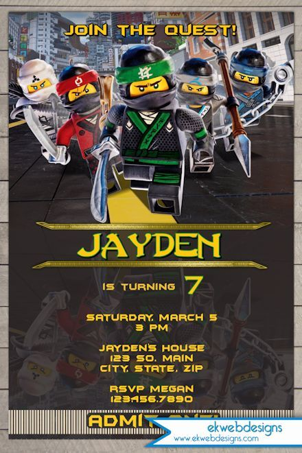 Ninjago Birthday Invitations