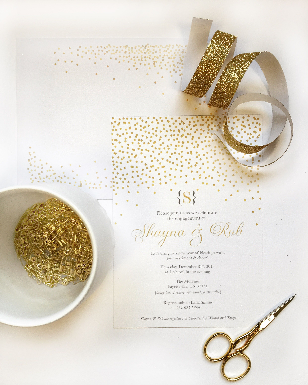 Falling Confetti Wedding Invitation Flat