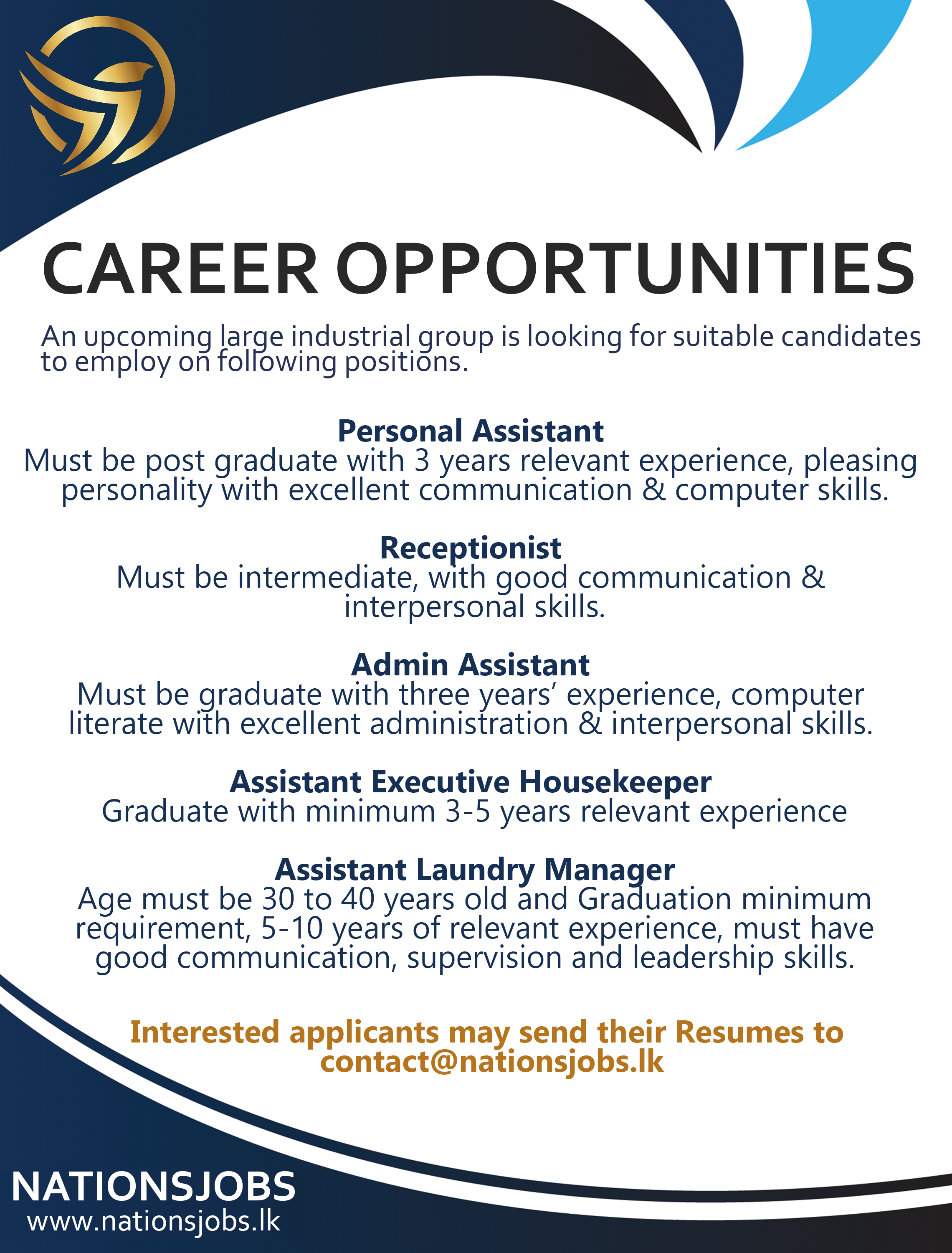 Career Opportunities An Upcoming Large Industrial Group Is Looking