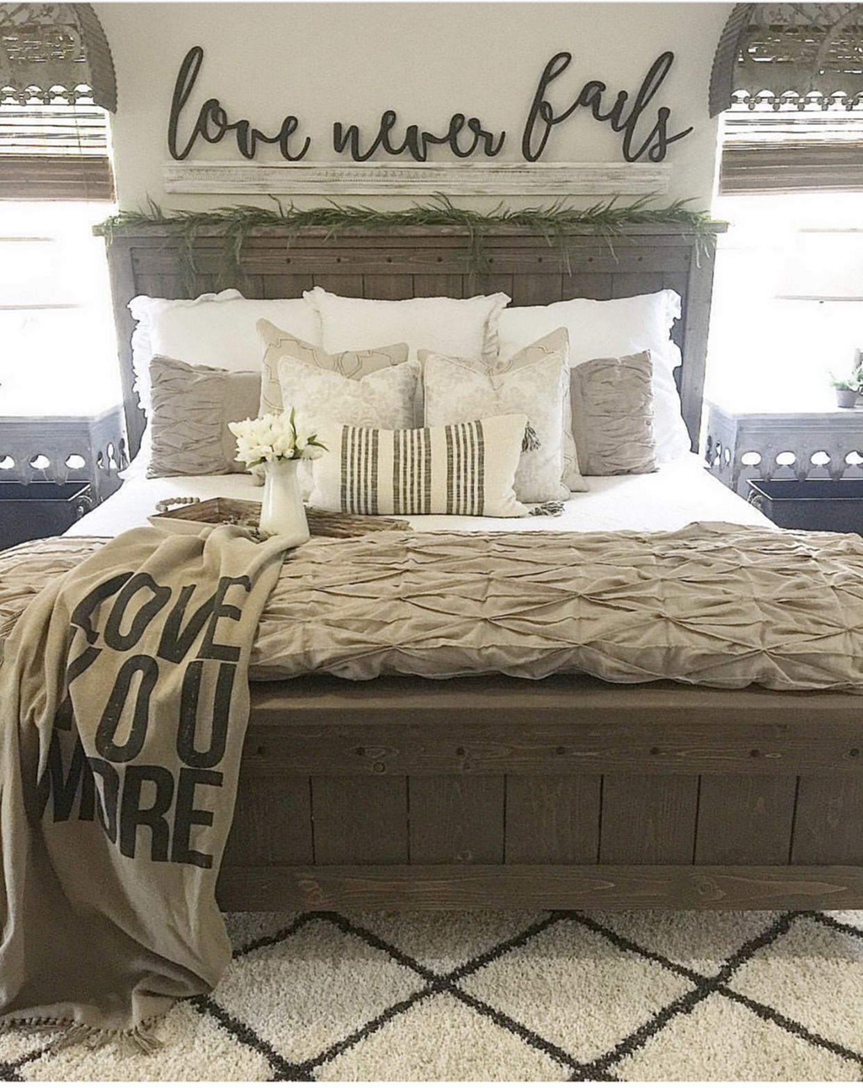 Cozy master bedroom decor  Farmhouse Bed   Bedrooms Master bedroom and Future