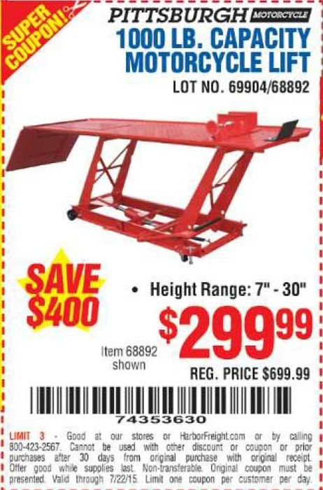 coupons for harbor freight motorcycle lift