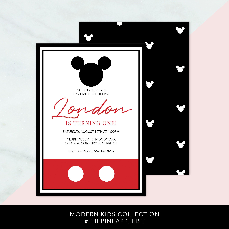 Modern Mickey Mouse Birthday Invitation Custom Birthday