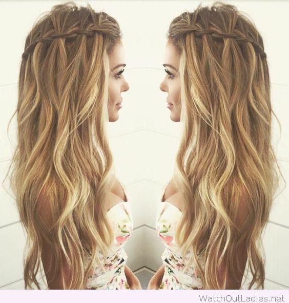 Cool waterfall braid for curly hair | Hair | Pinterest