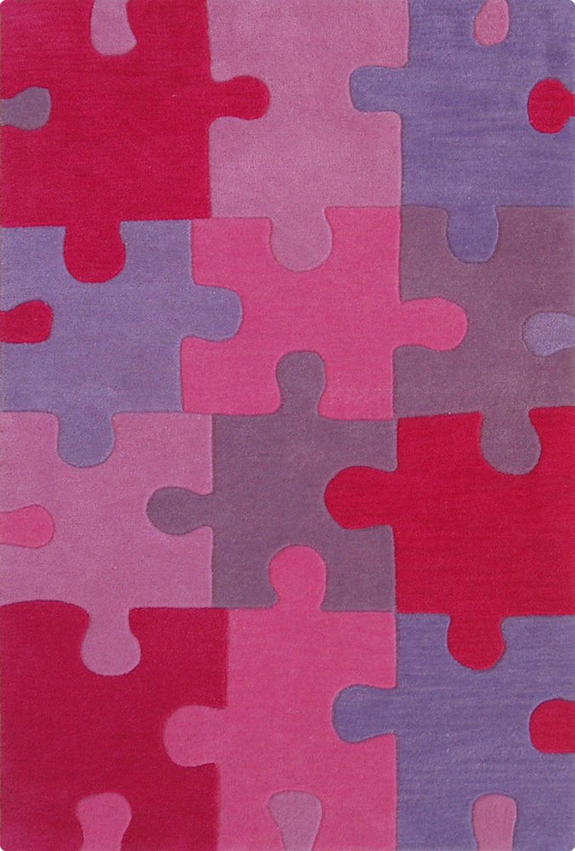Modernrugs Pink Puzzle Pieces Modern Kids Rug