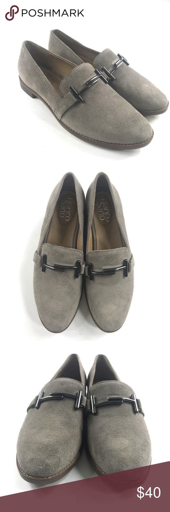 "49a2f878144 NEW Franco Sarto Slip On Loafers Harlow Suede taupe Slip on Size 6.5 M Low  stacked heel Approx 1"" or less heel New without box Franco Sarto Shoes"