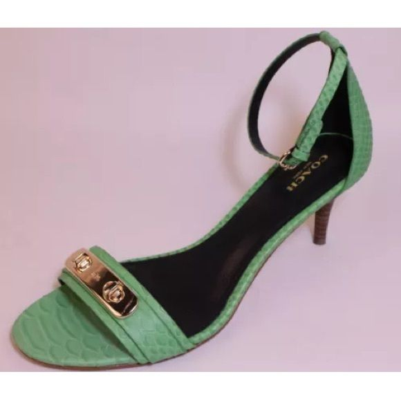 Coach green Python open toe heels❤️ In excellent condition! Green Python open toe strappy heels. Gorgeous! Coach Shoes Heels