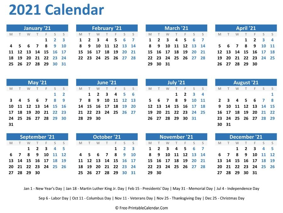Print Yearly Calendar 2021 Free - Delightful for you to my ...