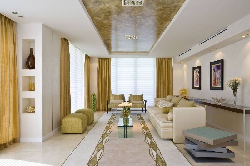 Living Room Modern Ceiling Design Using Long Brown Marble And
