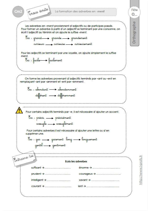 CM2: TRACE ECRITE Les adverbes en -ment]   Les adverbes en ...