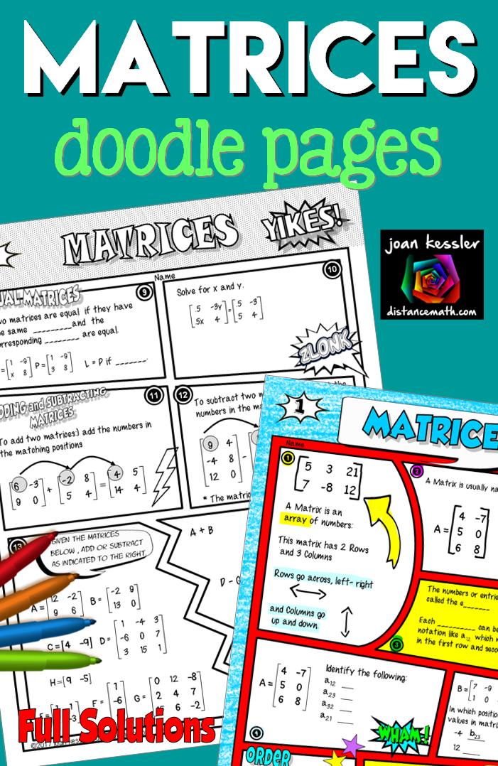 Matrices Comic Book FUN Notes plus Practice   PreCalculus   Doodle