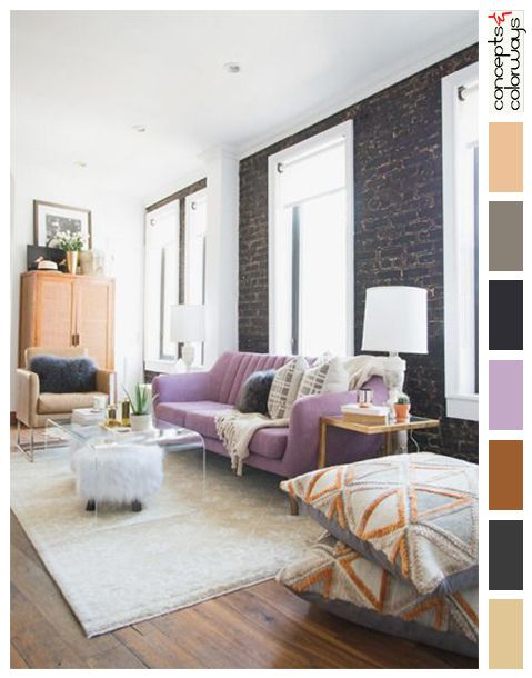 Eclectic Living Room With Light Purple Sofa Color Palettes For