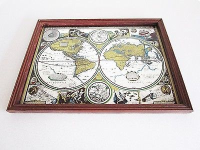 Vintage world map atlas wood framed mirror new and accvrat map of vintage world map atlas wood framed mirror new and accvrat map of the world gumiabroncs Image collections