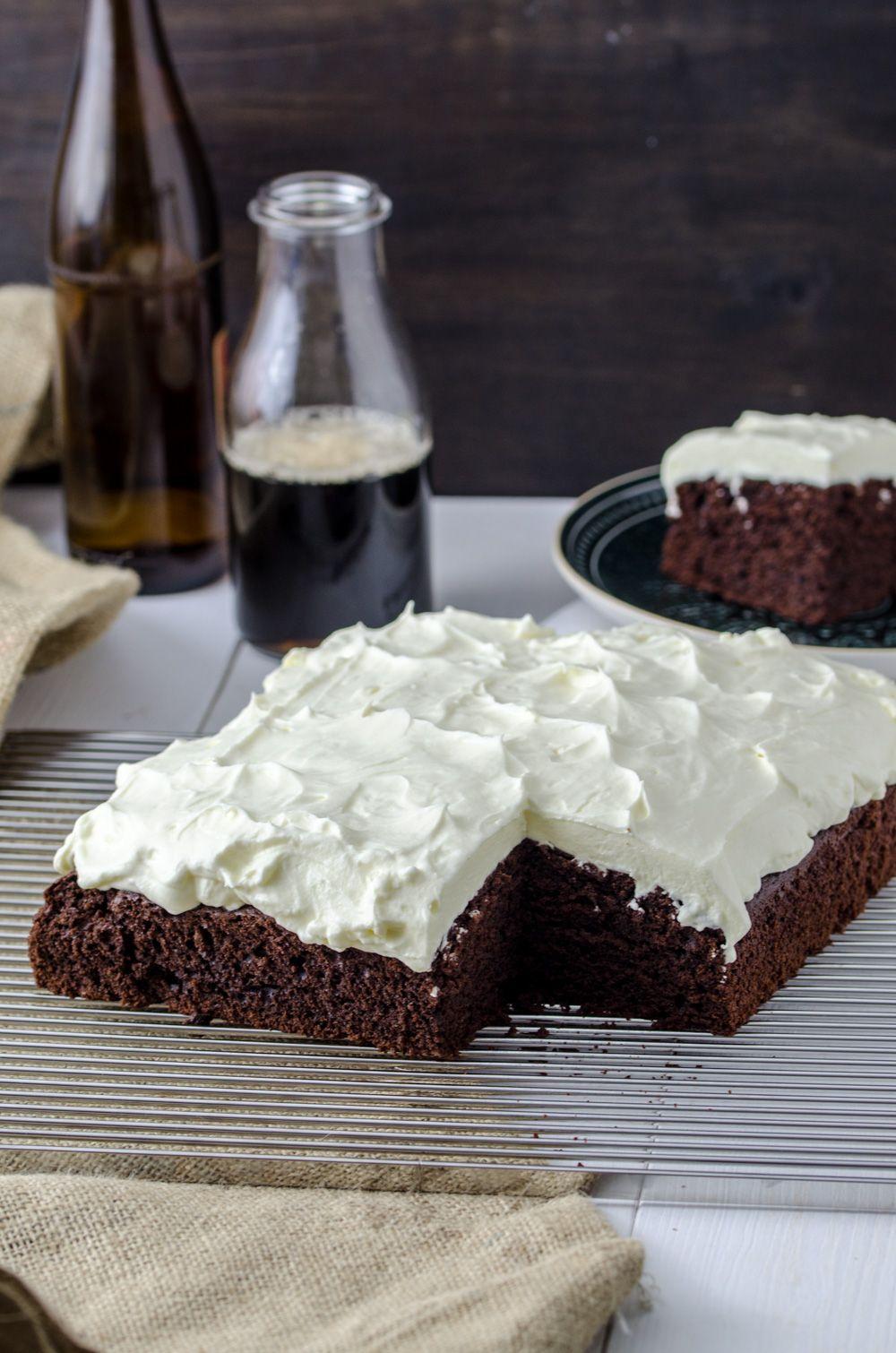 Schwarzbier Kuchen Mit Frischkase Topping Zuckersuss Pinterest