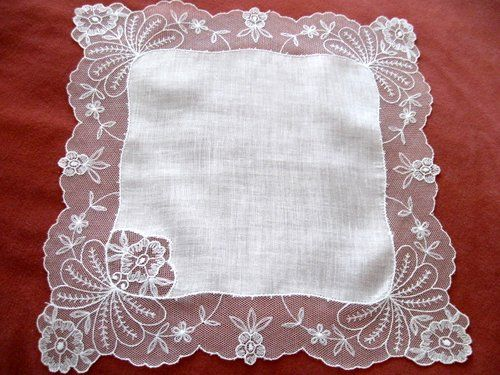Vintage Net Lace Handkerchief