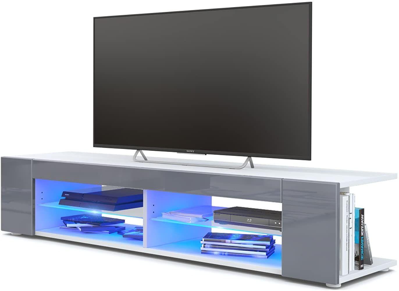 Tv Board Lowboard Movie Korpus In Weiss Matt Fronten In Grau Hochglanz Inkl Led Beleuchtung In Blau Tv Mobel Lowboard Wohnen